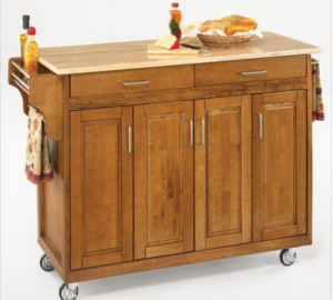 Cottage Oak Kitchen Cart Wood Top Create-a-Cart - Home Style