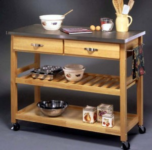 Mobile Wood Kitchen Cart Stainless Steel Top - Homestyles